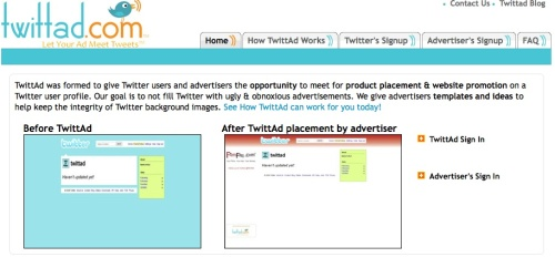 TwittAd application for micro-blogging monetization